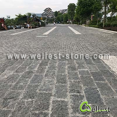 G565 Spot Black Granite Chiseled Paver
