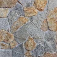 LS-100+101 Yellow and Light Grey Green Limestone Loose Stone Tumbled Random Tile