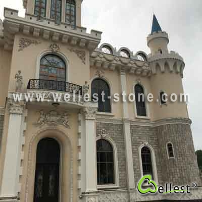 S014 Beige Mixed Slate & Quartzite Castle Wall Pillow Face Mushroom Stone
