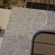 L828 Blue Grey Limestone Flamed Anti-slip Swimming Pool Corner Arc Coping
